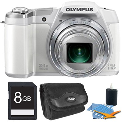 STYLUS SZ-16 iHS16MP 24x wide/48x SR Zoom 1080p HD 3` Hi-Res LCD White 8 GB Kit
