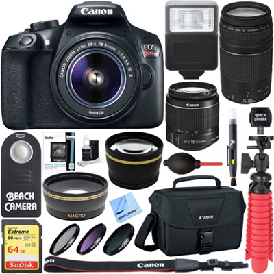 EOS Rebel T6 DSLR Camera w/ EF-S 18-55mm & 75-300mm IS II Lens 32GB Memory Kit