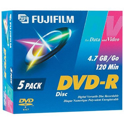 DVD-R 5-PACK Discs for Video and Data - 120 Minutes/4.7 GB ea