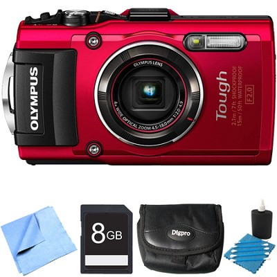 TG-4 16MP 1080p HD Waterproof Digital Camera Red 8GB Memory Card Bundle