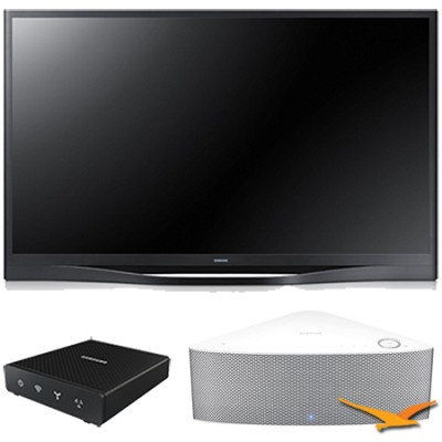 PN64F8500 - 64` 1080p 3D Wifi Plasma HDTV with SHAPE Audio Bundle - White