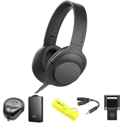 Premium Hi-Res On-Ear Stereo Headphone Black - MDR100AAP/B w/ FiiO A3 Amp Bundle