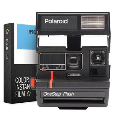 Polaroid 600 Instant Film Camera w/ flash -Red w/ Instant Lab Color Film Bundle