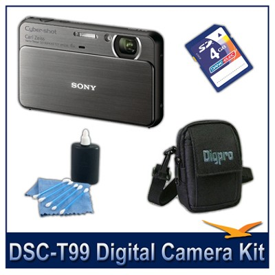 DSC-T99 14MP Black Touchscreen Digital Camera with 4GB Card, Case, and more