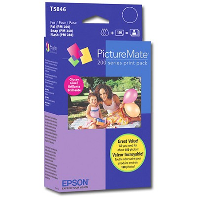 T5846 PictureMate 200 Series Print Pack (Glossy 4x6 150 Sheets)