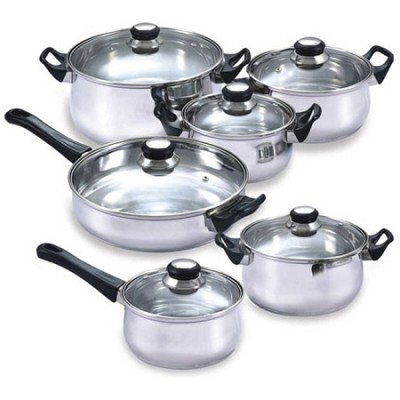 12 Piece Stainless Steel Nonstick Cookware Set
