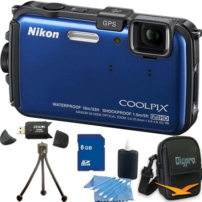 COOLPIX AW100 16MP Waterproof Shockproof Freezeproof Blue Camera 8GB Bundle