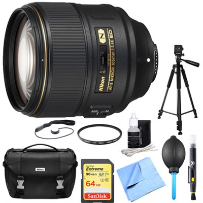 AF-S NIKKOR 105mm f/1.4E ED Lens with 64GB Deluxe Bundle