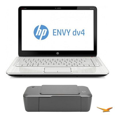 ENVY 14.0` dv4-5220us Notebook PC and HP 1000 Printer Bundle