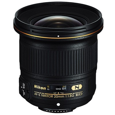 AF-S FX Full Frame NIKKOR 20mm f/1.8G ED Fixed Lens with Auto Focus