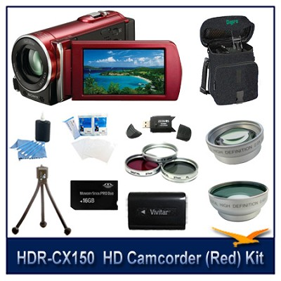 HDR-CX150  HD Camcorder(Red) with 16 GB Card, Spare Batt, Case, Tri Pod, & More