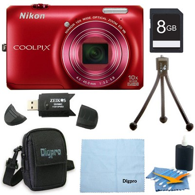 COOLPIX S6300 16MP 10x Opt Zoom 2.7 LCD Digital Camera 8GB Red Bundle