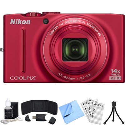 COOLPIX S8200 16MP Digital Camera with 14x Zoom (Red) Refurbished Bundle