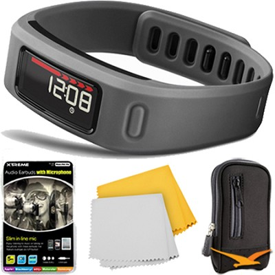 Vivofit Fitness Band Bundle w/ Heart Rate Monitor (Slate) Plus Accessory Bundle