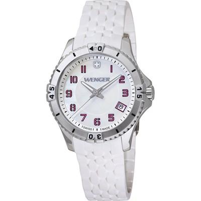 Ladies' Squadron Analog Watch - White Dial/White Silicone Rubber Strap