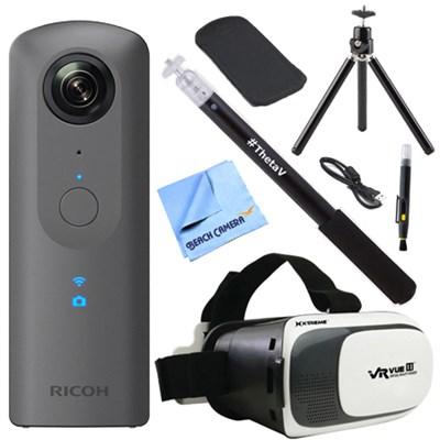 Theta V 360-Degree Spherical Digital Camera Grey + Selfie Stick and VR Kit