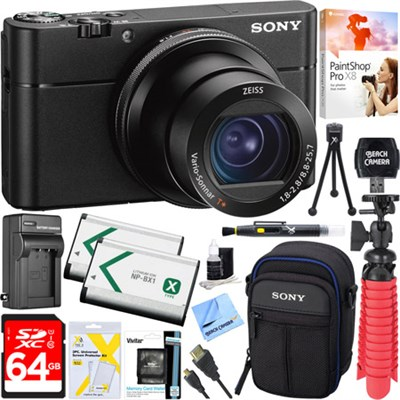 DSC-RX100 V 20.1MP Cyber-shot Digital Camera + 64GB Dual Battery Accessory Kit