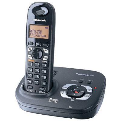 KX-TG4321B 5.8 GHz Expandable Digital Cordless Phone w/Digital Answering System