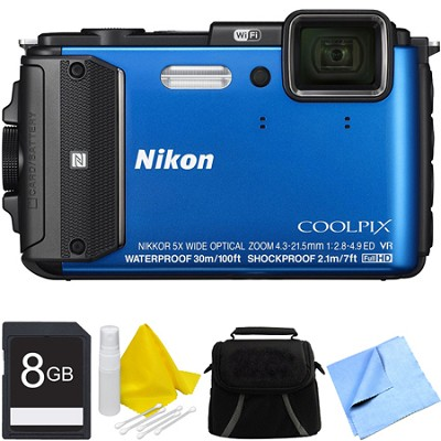 COOLPIX AW130 Waterproof Shockproof Freezeproof Digital Camera 8GB Bundle - Blue