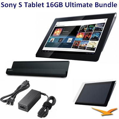 16 GB Tablet S with Wifi BUNDLE with Sony AC Adapter, Cradle, LCD Protectors