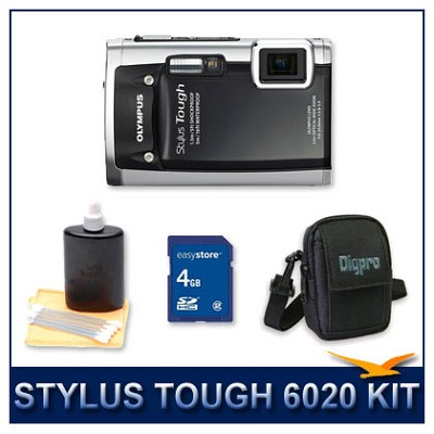 Stylus Tough 6020 Waterproof Shockproof Digital Camera (Black) w/ 4 GB Memory