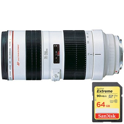 EF 70-200mm F/2.8L USM Lens with Lexar 64GB Memory Card