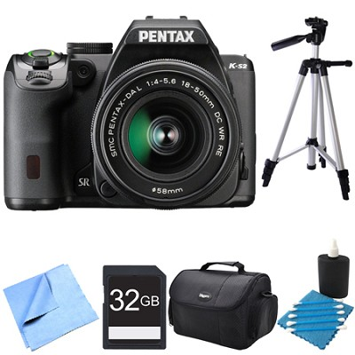 K-S2 20MP DSLR Camera Kit with 18-50mm WR Lens Black 32GB Bundle