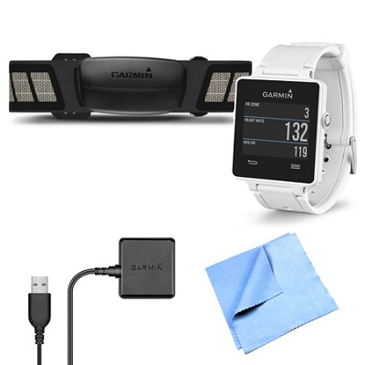 vivoactive GPS Smartwatch White with Heart Rate Monitor Charging Clip Bundle