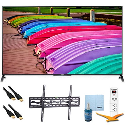 XBR65X850B - 65` 3D 4K UHD Smart TV Motionflow 240 Tilt Mount & Hook-Up Bundle
