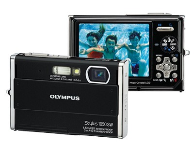 Stylus 1050SW 10MP Shockproof Waterproof Digital Camera (Black) - REFURBISHED