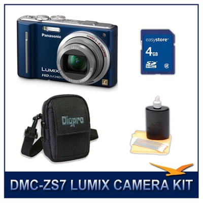 DMC-ZS7A LUMIX 12.1 MP Digital Camera (Blue), 4GB SD Card, and Camera Case