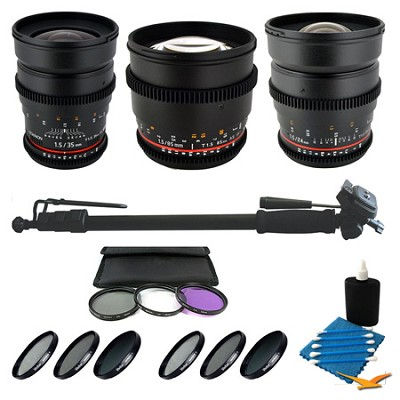 3 T1.5 Lens Bundle 24mm, 35mm, and 85mm with Bonus Filters for Sony NEX Cameras