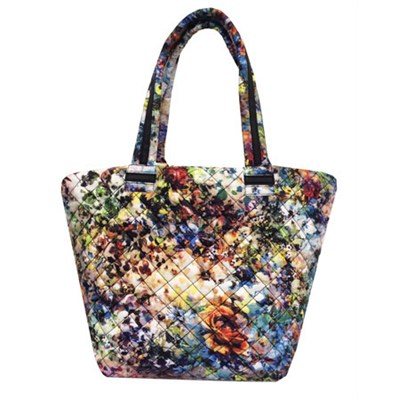 BROVERR Floral Print Quilted Tote Bag - White