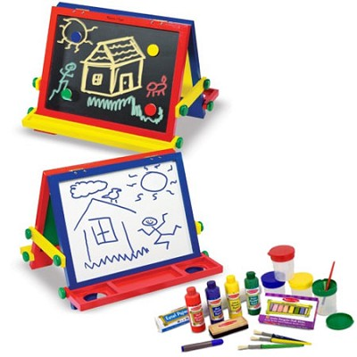 Wooden Tabletop Easel and Accessory Set Bundle