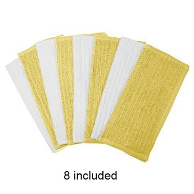 8 Pack Terry Utility Dish Cloth - Yellow and White