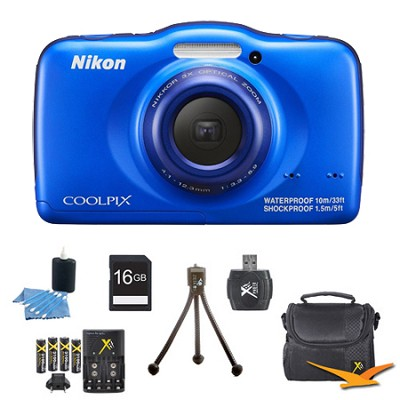 COOLPIX S32 13.2MP Waterproof Shockproof Dustproof Digital Camera Blue Kit
