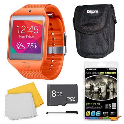 Gear 2 Neo Orange Watch, Case, and 8GB Card Bundle
