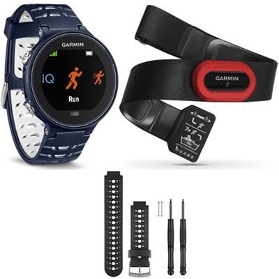 Forerunner 630 GPS Smartwatch w/ HRM-Run - Midnight Blue - Black/White Bundle