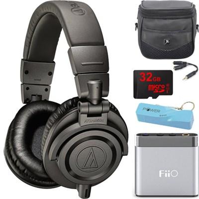ATH-M50X Professional Studio Headphones (Gray) Portable Headphone Amp Bundle