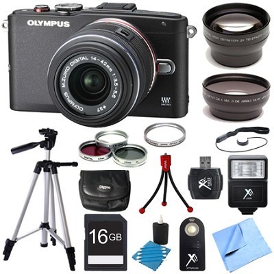E-PL6 Mirrorless 16MP Digital Camera with 14-42mm II Lens Ultimate 3 Lens Bundle