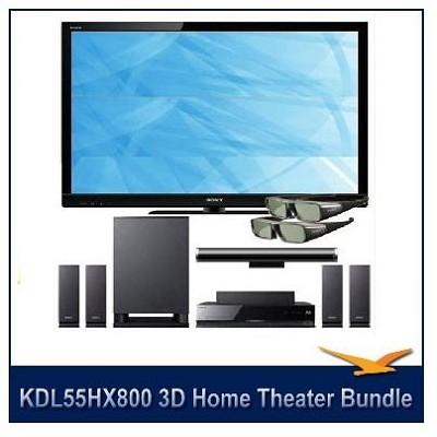KDL55HX800 - 55` 1080p 240Hz LED 3D HDTV+Home Theater, 3D Transmitter, 2 Glasses