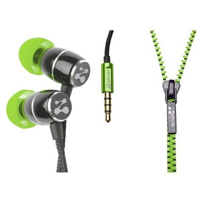 FRESH Noise-Isolating Metal Earbuds with Tangle Free Zipper Cabling (Green)
