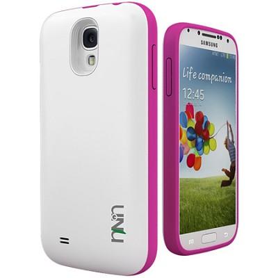 Unity Ultra-Slim 2600mAh Battery Case for Samsung Galaxy S4 - White/Magenta