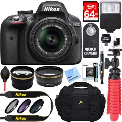 D3300 DSLR 24.2 MP HD 1080p Camera with 18-55mm Lens + Accessory Bundle