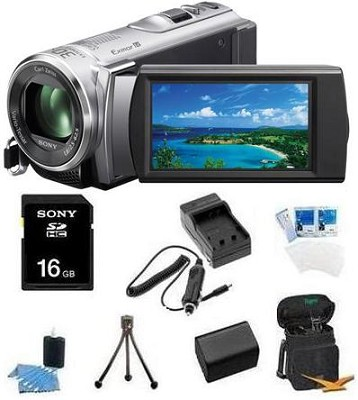 HDR-CX210 HD Camcorder 8GB Camcorder w/ 25x Optical Zoom (Silver) Bundle