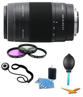 SAL75300 - 75-300mm f/4.5-5.6 Zoom Lens Essentials Kit Includes Filters and More