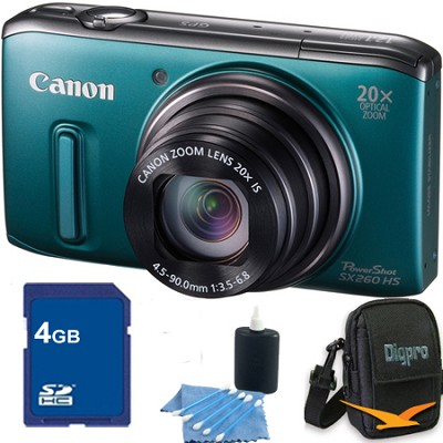 PowerShot SX260 HS Green Digital Camera 4GB Bundle