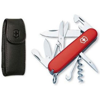 Climber Pocket Knife with Leather Clip Pouch