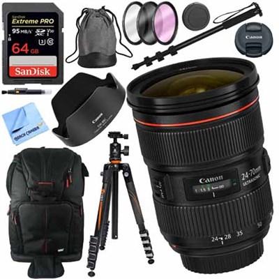 EF 24-70mm f/2.8L II USM Lens with Vanguard Tripod + 64GB Filters Kit