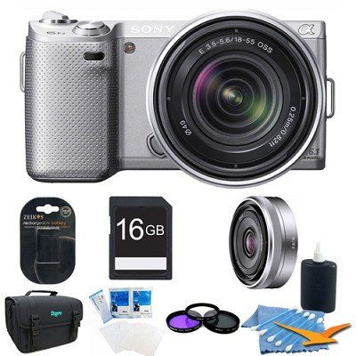NEX5NK/S - NEX-5N with 18-55mm, 16mm f2.8 (Silver) Ultimate Bundle